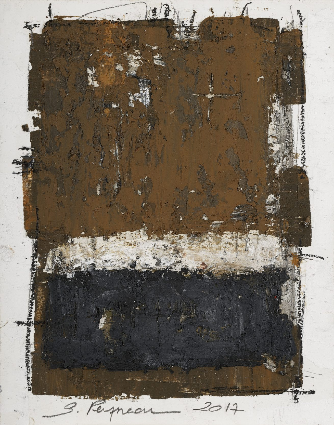 'De pierre  et de sable' Huile sur papier dim 24 x31 cm