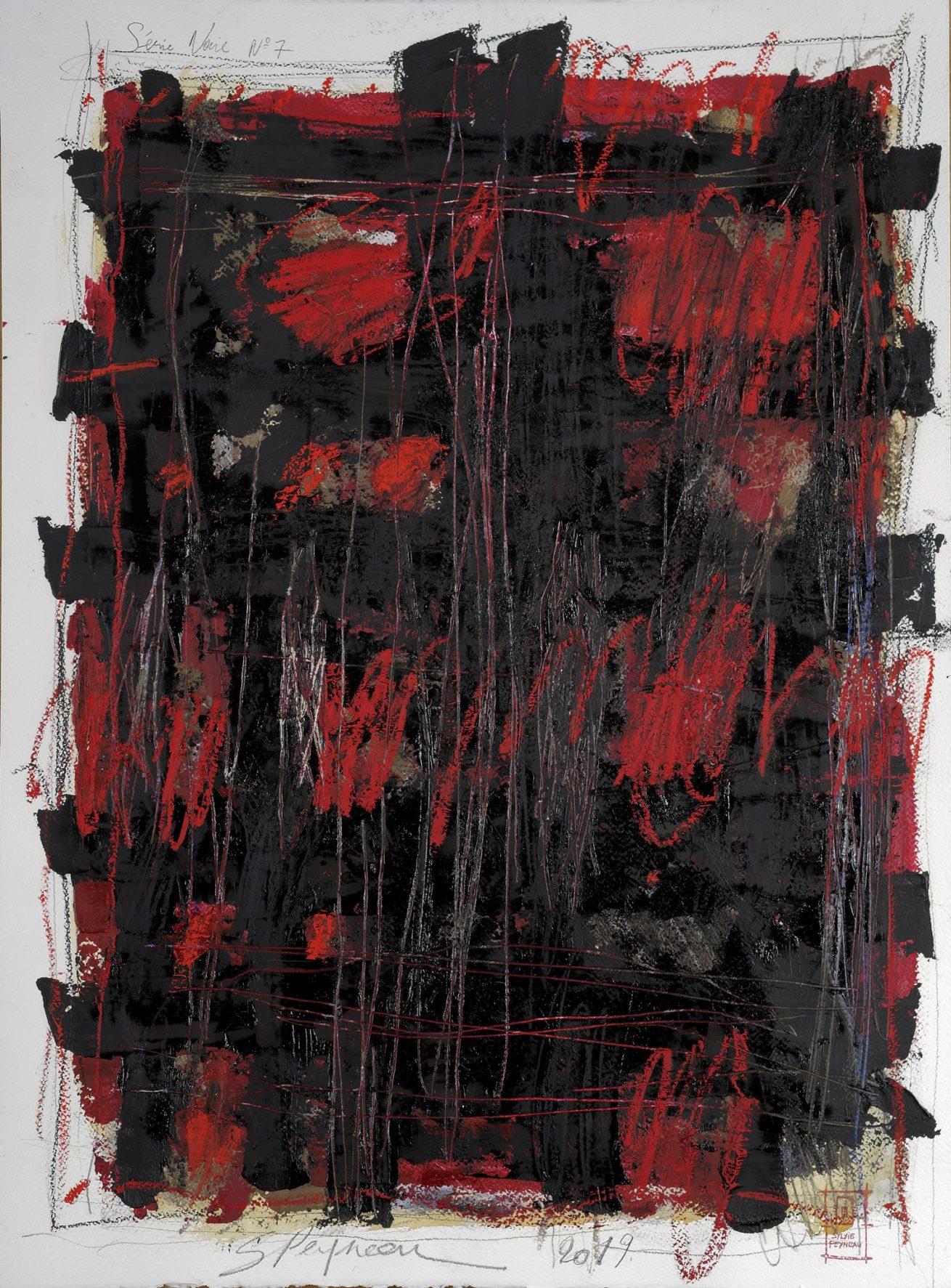 Série Noire N°7   Huile sur papier Dim 56×76 cm