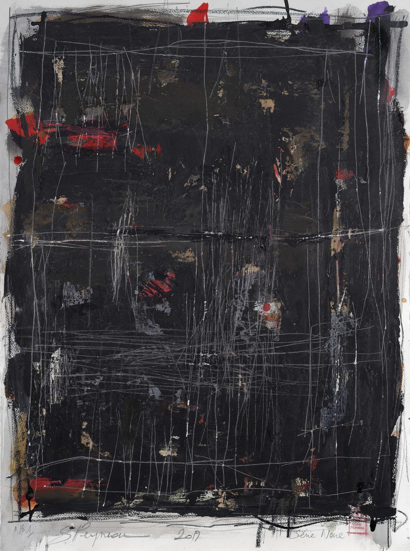 Série Noire N°1   Huile sur papier Dim 56×76 cm