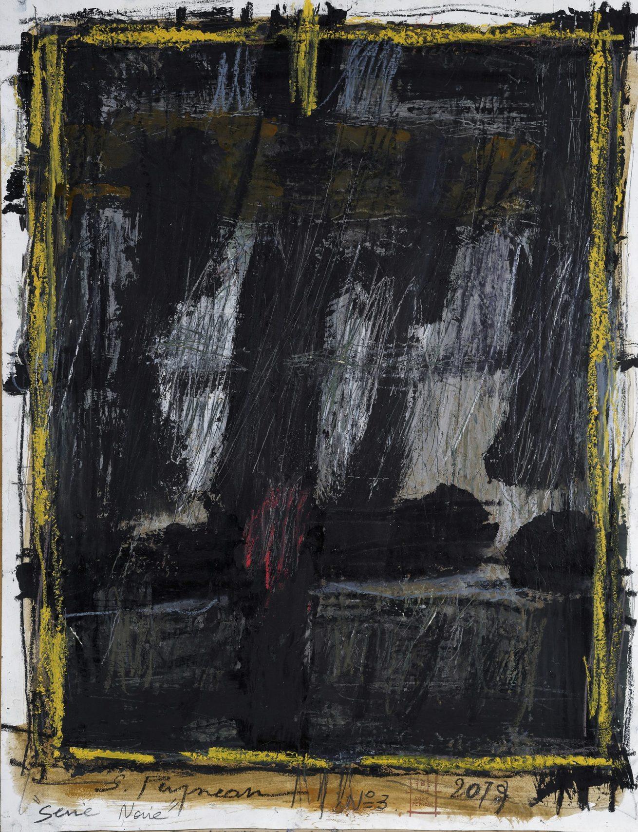 Série Noire N°3  Huile sur papier Dim 50×65 cm