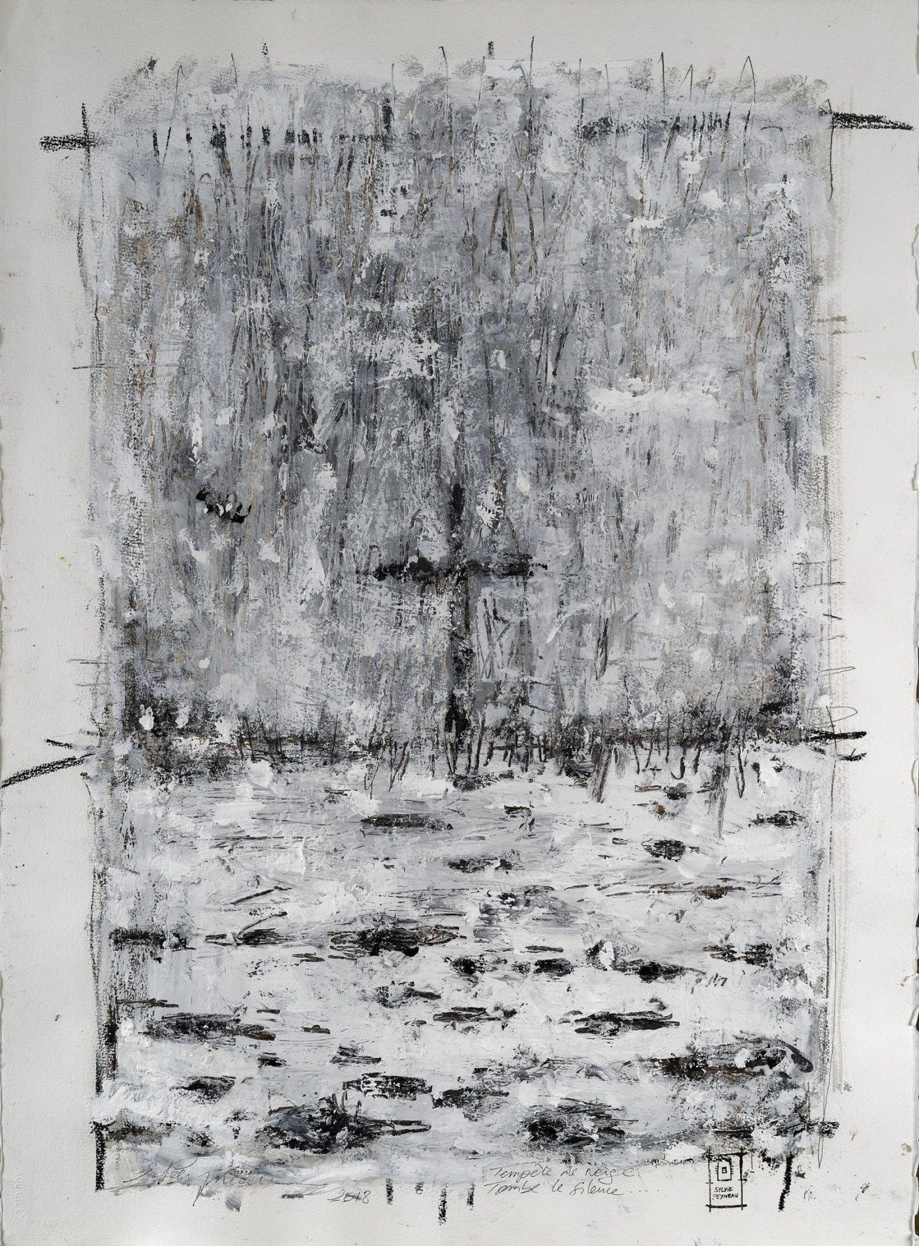 «Tempête de Neige» Huile sur papier Dim 56×76 cm