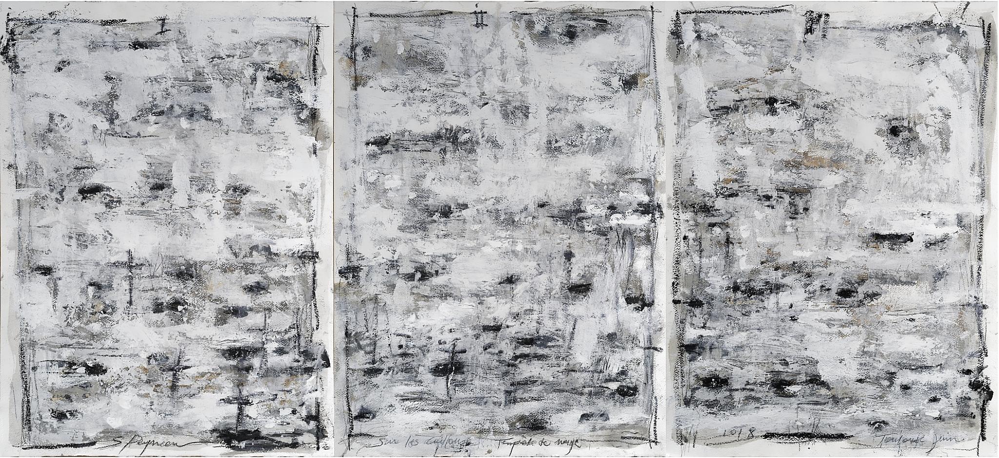 """""""Tempête de Neige"""" Huile sur papier Dim 168×76 cm"""