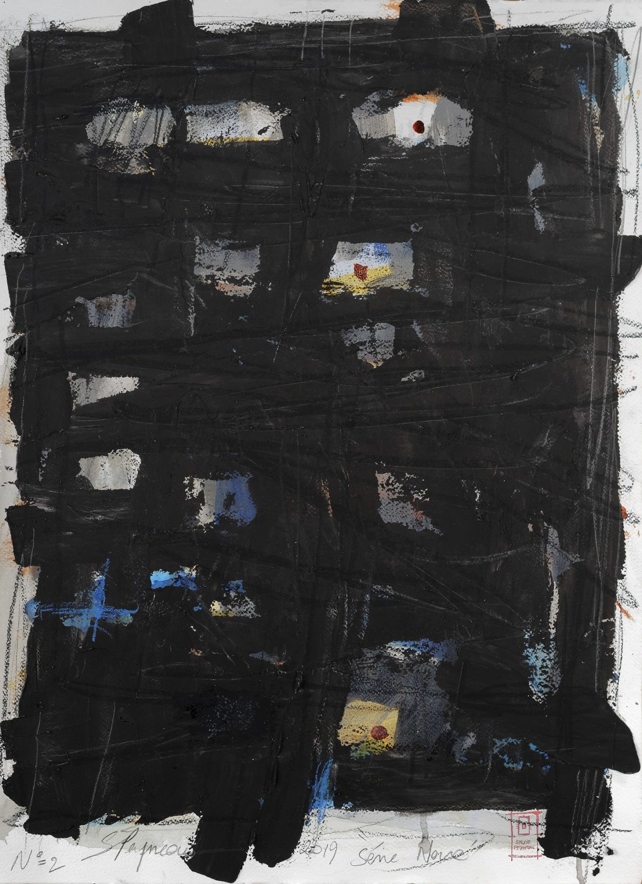 Série Noire N°2  Huile sur papier Dim 56×76 cm