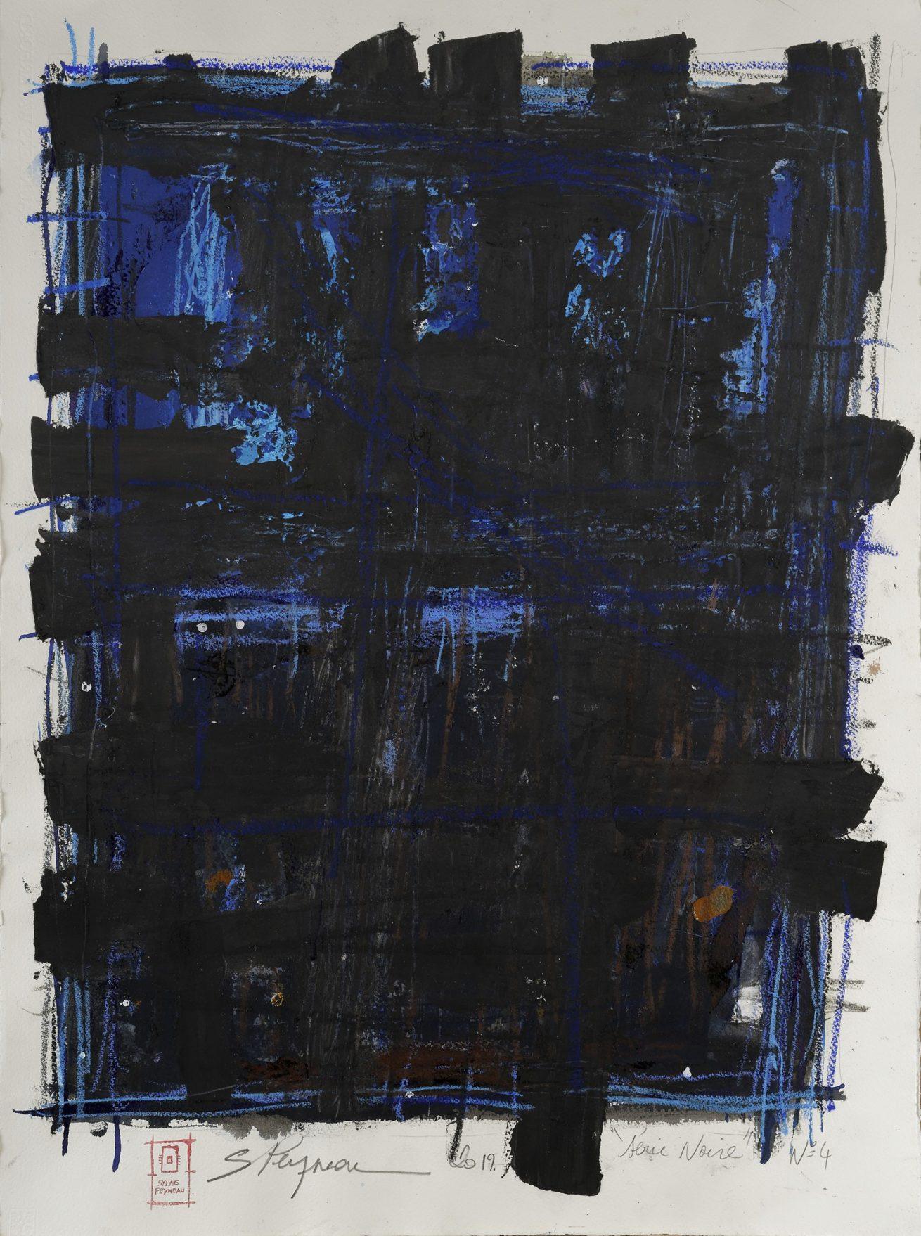 Série Noire N°4   Huile sur papier Dim 56×76 cm