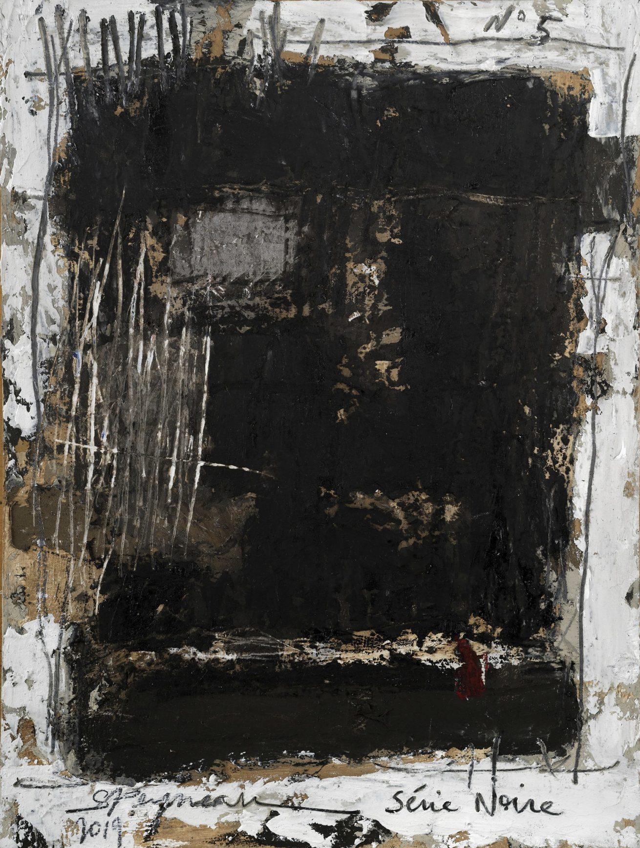 Série Noire N°5   Huile sur papier Dim 30×40 cm