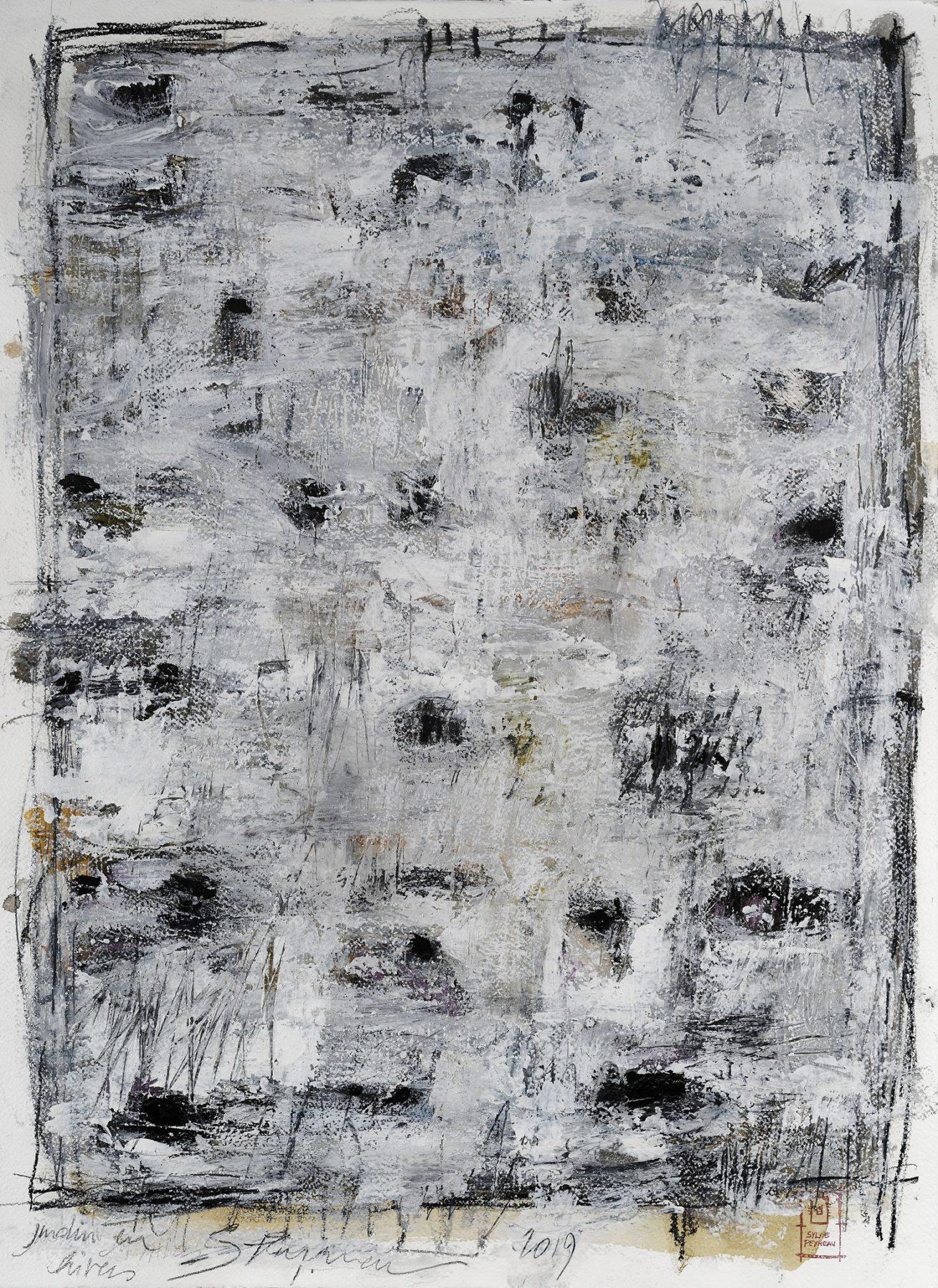 """""""Tempête de Neige"""" Huile sur papier Dim 56×76 cm"""