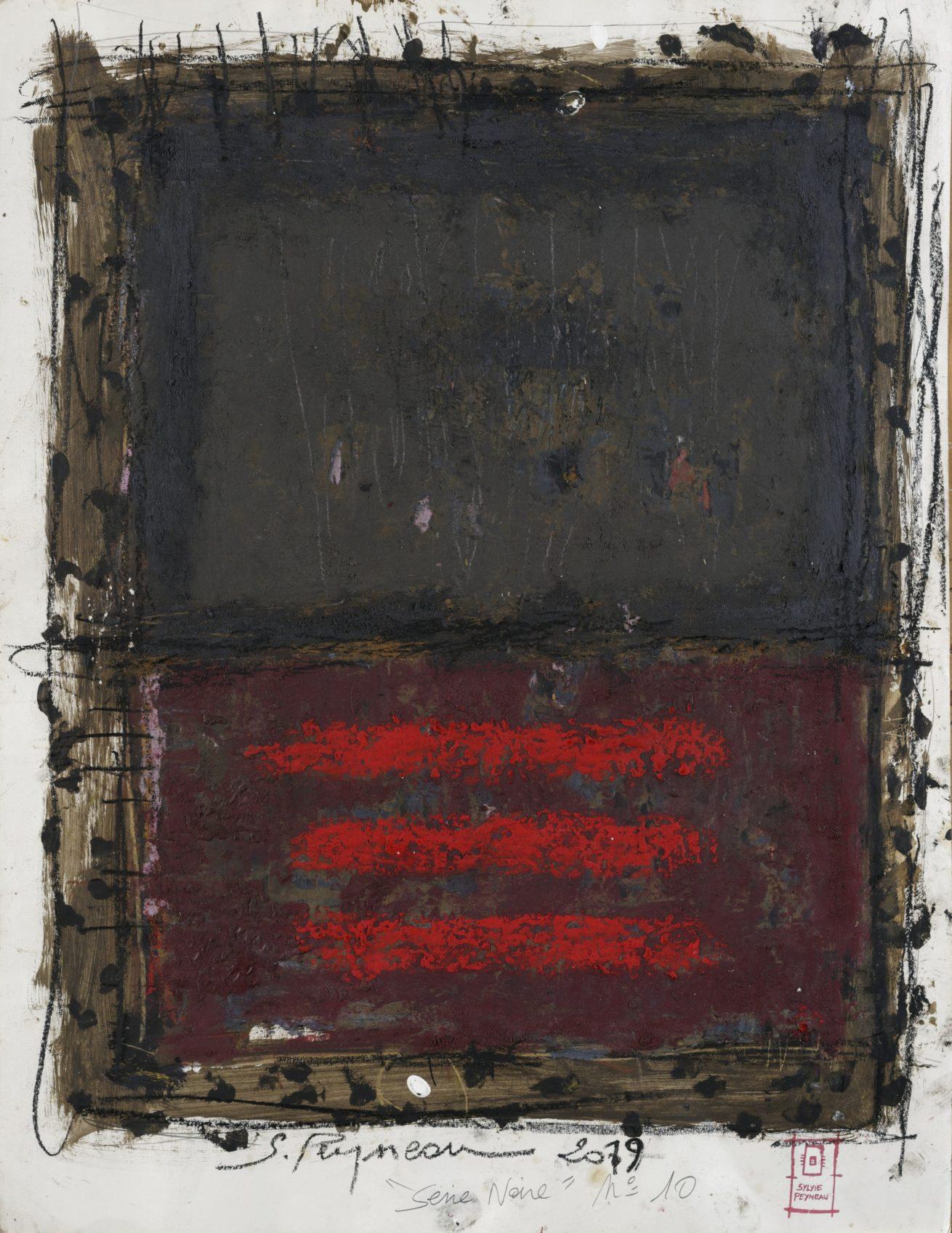 Série Noire N°10   Huile sur papier Dim 56×76 cm