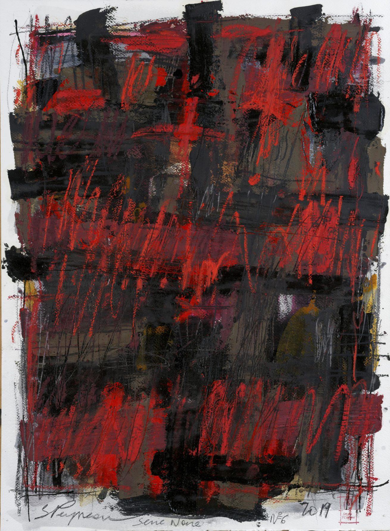 Série Noire N°6   Huile sur papier Dim 56×76 cm