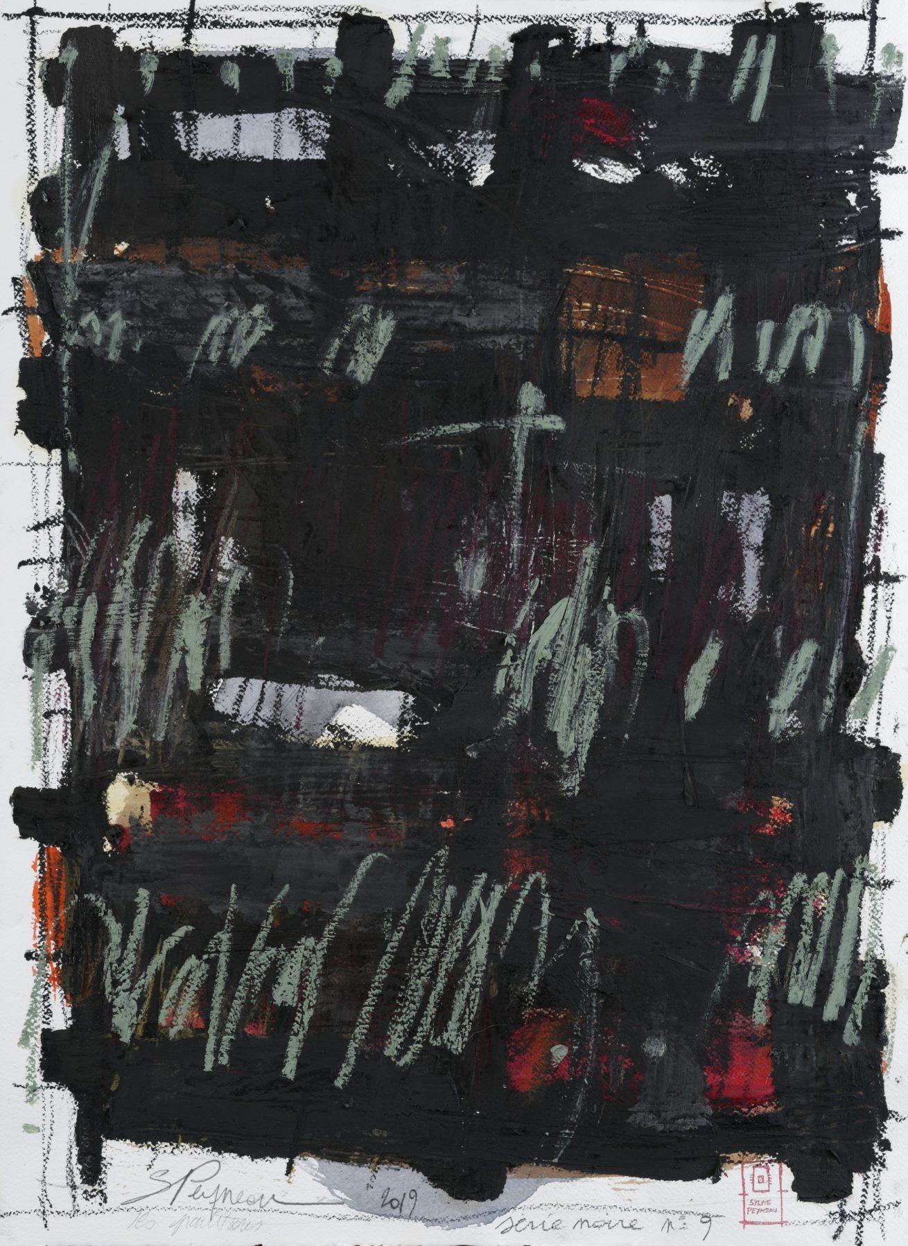 Série Noire N°9   Huile sur papier Dim 56×76 cm