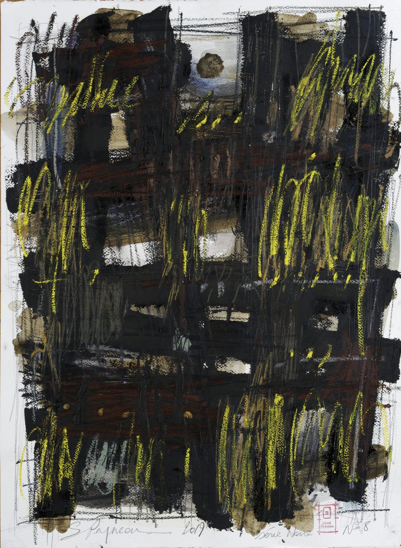 Série Noire N°8   Huile sur papier Dim 56×76 cm