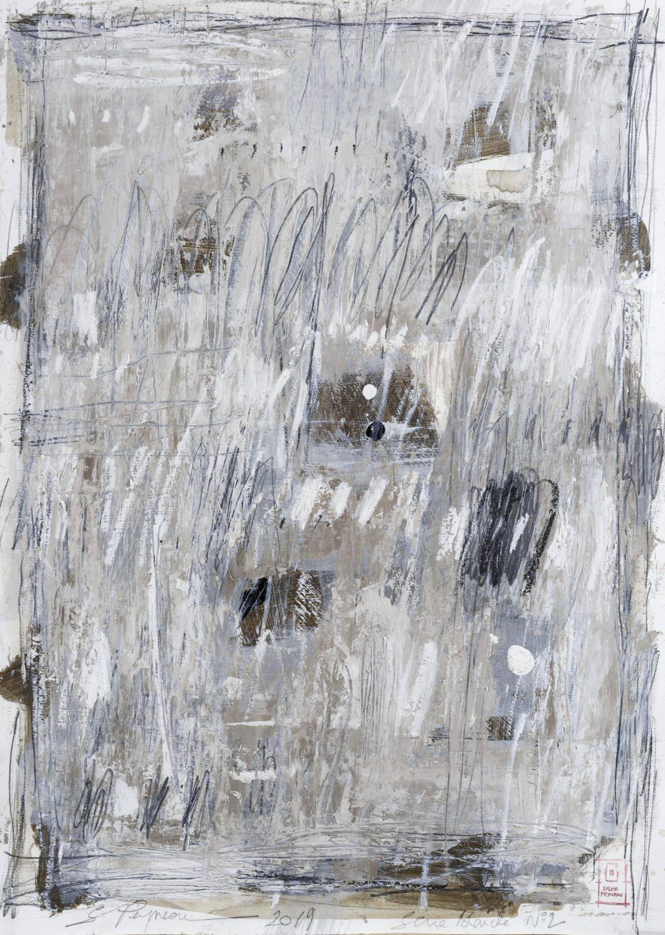 Série Blanche N°2   Huile sur papier Dim 56×76 cm