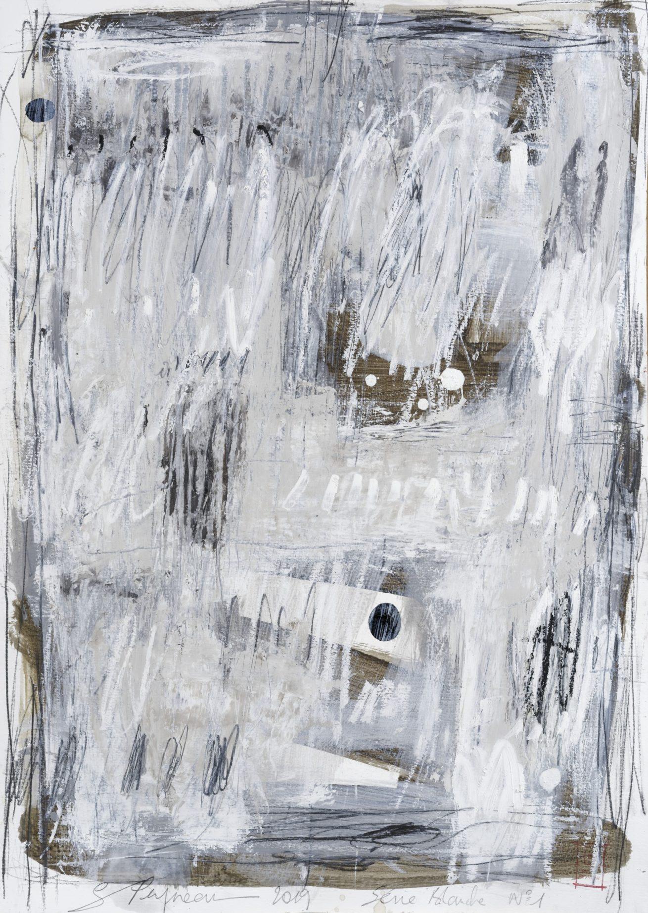Série Blanche N°1   Huile sur papier Dim 56×76 cm