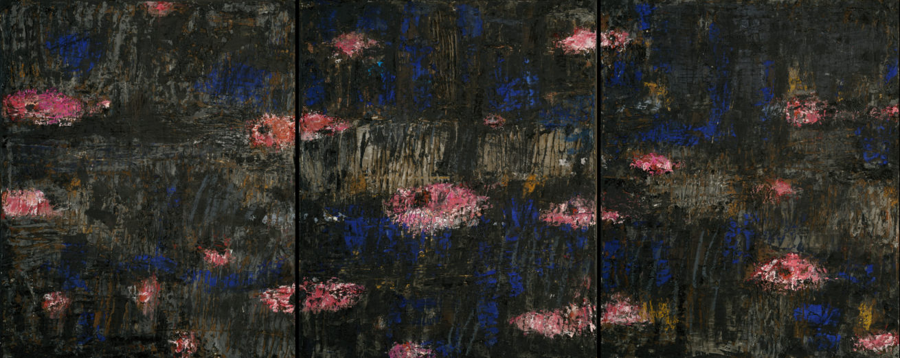 Jardin aquatique Huile sur toile  diptyque  Dim 50 x 62 cm  x 3